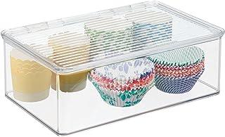 mDesign boîte de rangement avec couvercle – bac alimentaire en plastique de 3 L pour conserves, fromage, viandes, etc. – r...
