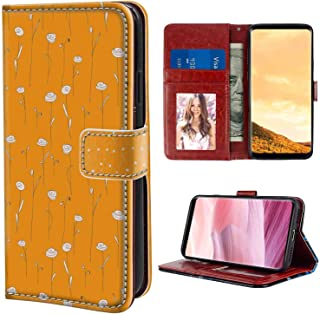 Wristlet Wallet Case Fit for Samsung Galaxy S8 Plus (2017) 6.2 Version Orange Doodle Style Abstract Flowers Simplistic Nature Bloom Design Summer Time Flora Orange and White Pattern for Girls Case
