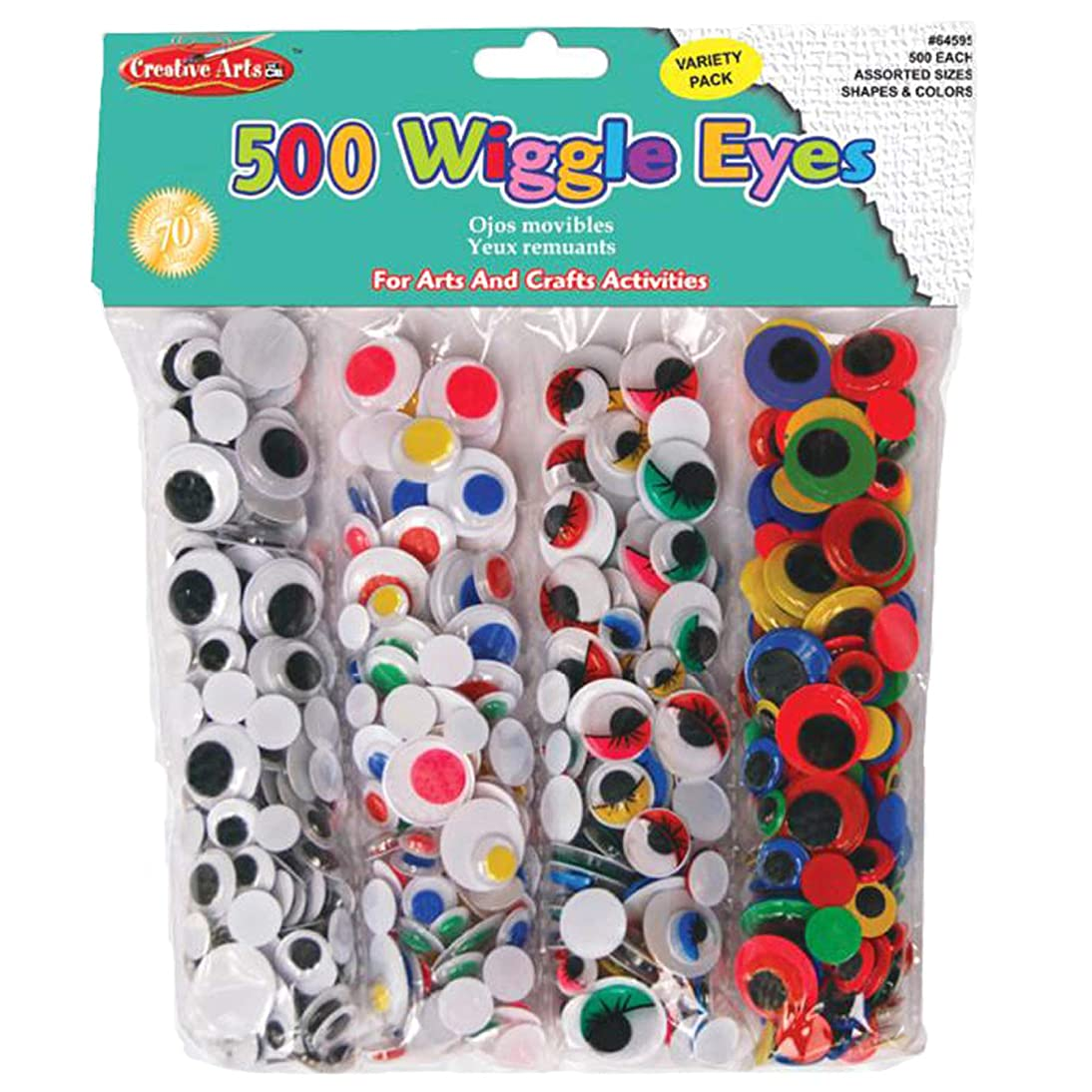 Creative Arts by Charles Leonard Wiggle Eye Combo Pack, 125 Each of 4 Assorted Styles and Colors, 500/Bag (64595)