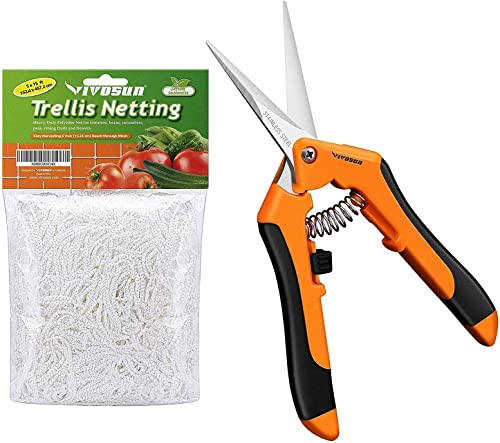 new arrival VIVOSUN 5 x 15ft Polyester Plant Trellis Netting online and 6.5 Inch Gardening Hand Pruner with sale Straight Stainless Steel Blades Orange online sale