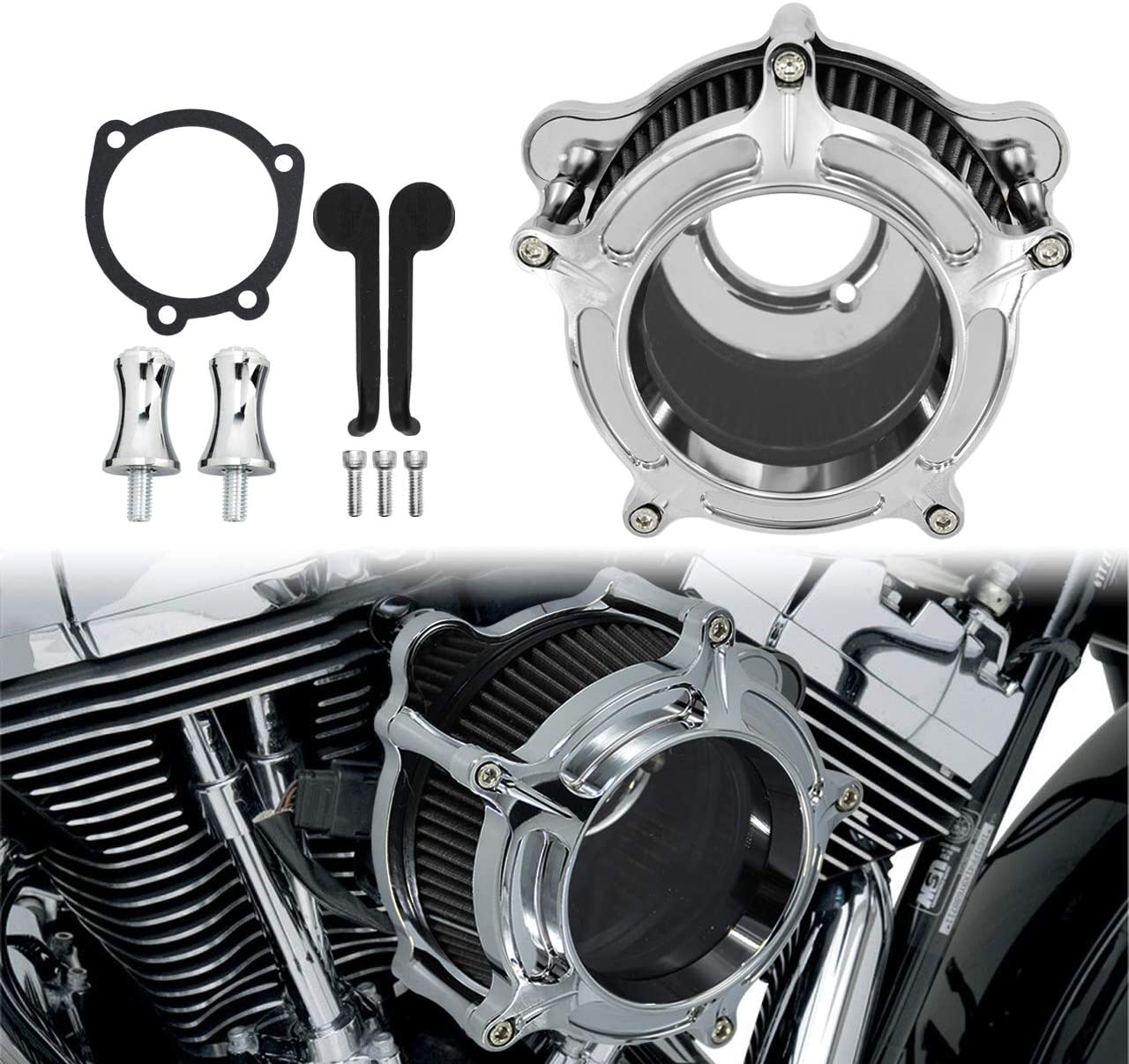 YHMTIVTU Air Cleaner Filter Kits Fit for 2021new shipping New color free 2000-2017 Harley S Dyna