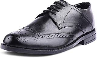 Kanprom Men's Black Genuine Leather Formal Derby Round Toe Lace-Up Brogue Shoes