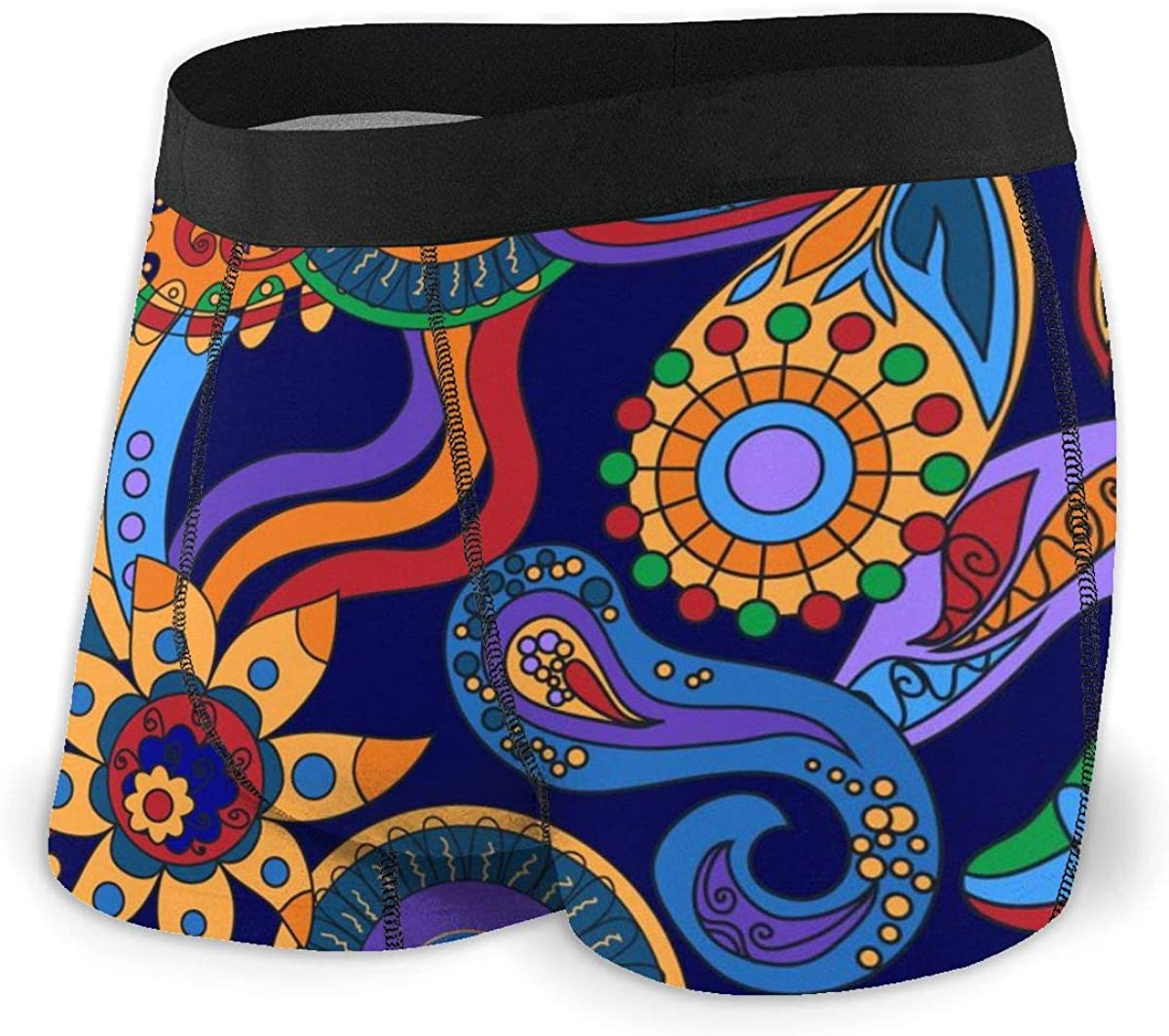 Mens Boxer Briefs Bohemia Ornamental Abstract Floral Paisley Breathable Underwear