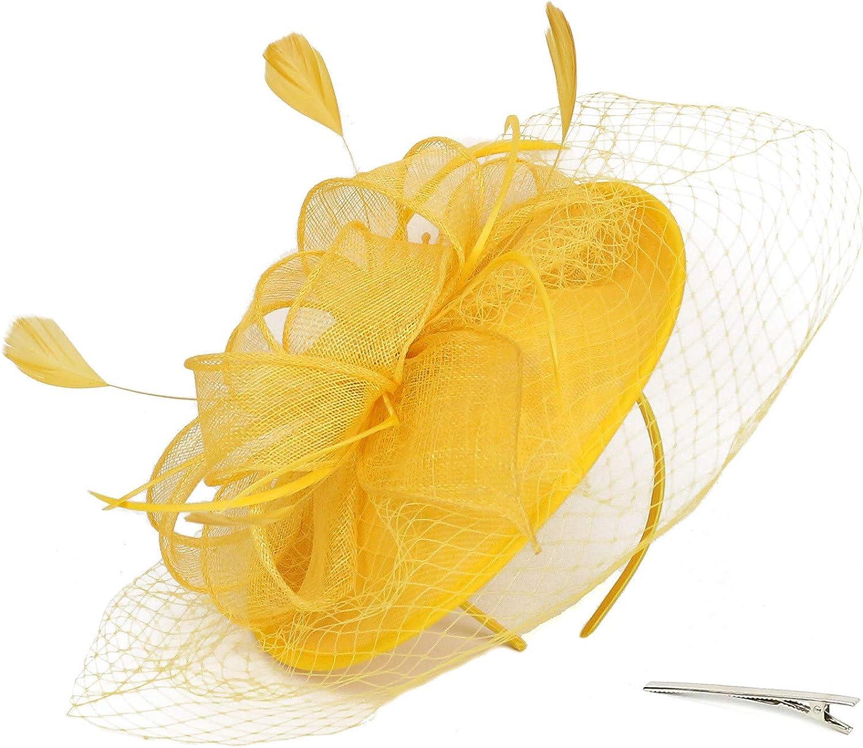 VISOEP Womens Fascinators Handmade Hair Clip Wedding Casual Fascinator Large Hat Headpieces