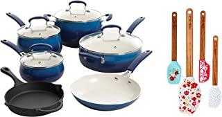 The Pioneer Woman Classic Belly Ceramic Non-Stick Interior Cookware Set| 10 Piece| Cobalt| bundle with The Pioneer Woman Garden Party Silicone Spatula and Mini Spatula Set| 4-Pack| Teal|
