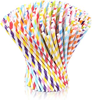 FindUWill Paper Disposable Drinking Straws for a General Party or Celebration,2 Different Colors 200Pcs