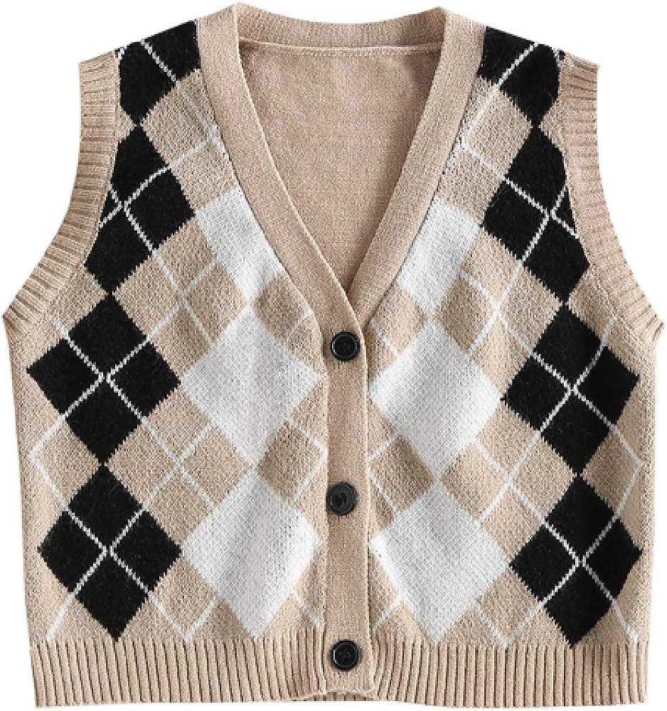 ZAFUL Women's V-Neck Sweater Vest Sleeveless Houndstooth Pullover Knitted Sweater