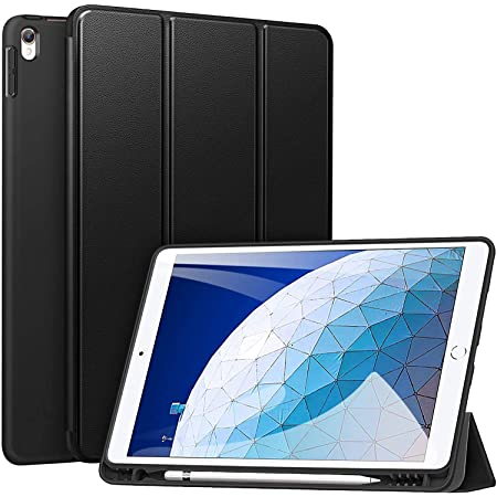 """ZtotopCase for iPad Air 10.5"""" (3rd Gen) 2019/iPad Pro 10.5"""" 2017 with Pencil Holder, Ultra Slim Soft TPU Back and Trifold Stand Cover with Auto Sleep/Wake Full Body Protective Smart Case Black"""