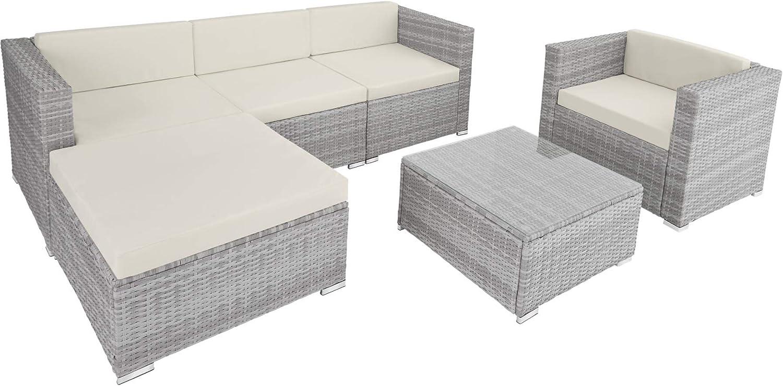 TecTake 800806 Conjunto de Muebles de Jardín, Set de Sofá Mesa Taburete, Salón de Exterior, Estructura de Acero, Ideal Patio Terraza, Incl. Cojines (Gris Claro)