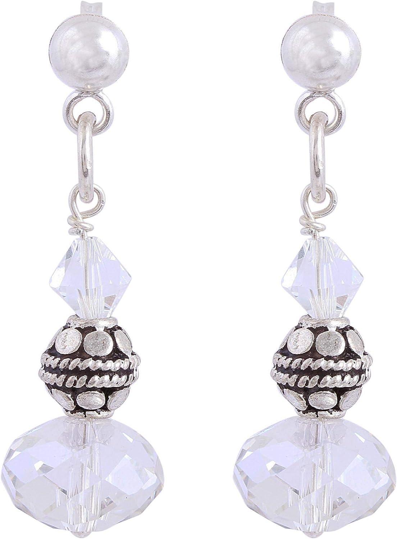NOVICA El Paso Mall Crystal Beads .925 Sterling Silver Earrings Spark Dangle price