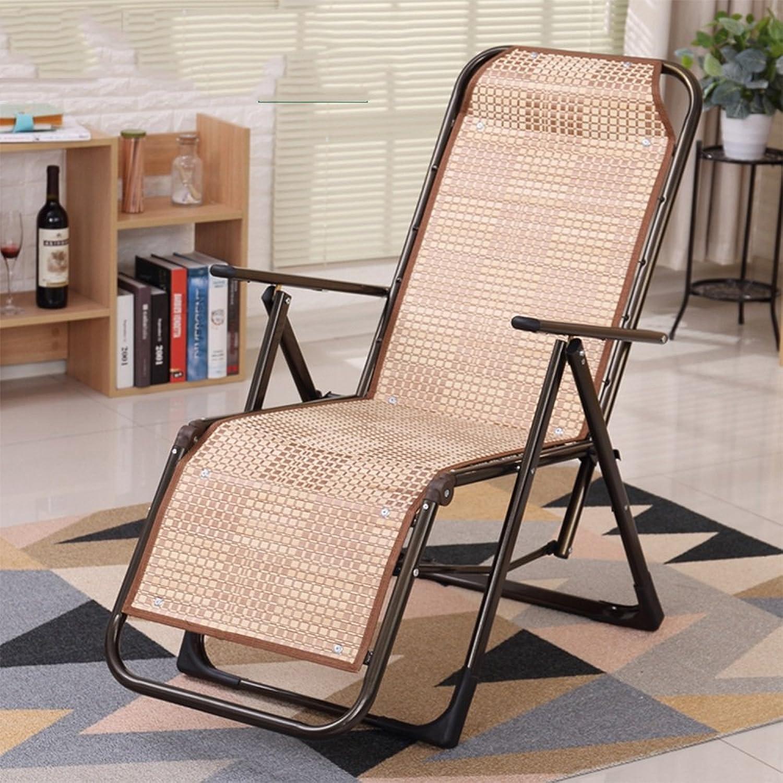 KTYXGKL Summer Recliner Folding Chair Bamboo Silk Back Chair Beach Chair Balcony Lunch Break Chair Folding Chair (color   E)