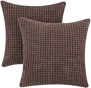 "Home Decor Corduroy Soft Soild Decorative Square Handmade Throw Pillow Covers Corn Striped Set Cushion Case for Sofa Bedroom Car 18""x18"" 2 Pieces (Brown1)"