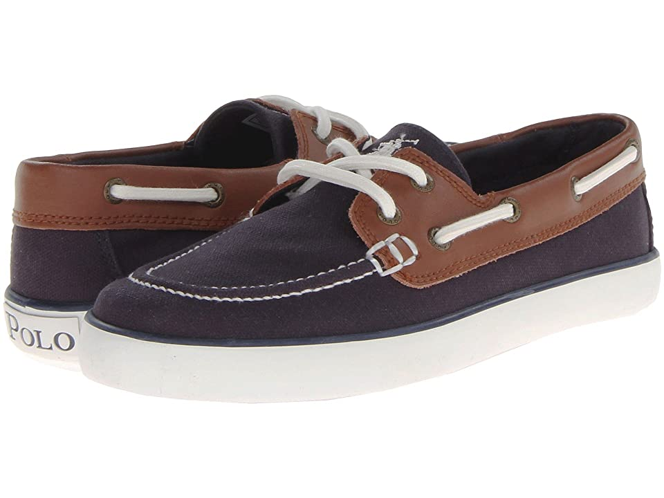 Polo Ralph Lauren Kids Sander (Big Kid) (Navy Canvas/Tan Leather) Boys Shoes