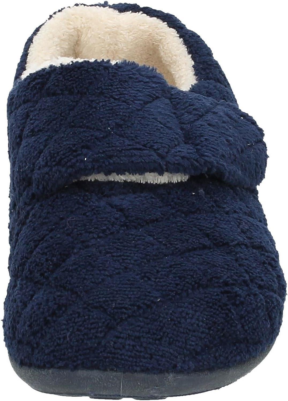 Spot On Womens Flat Velcro Slippers