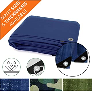 Heavy Duty Tarps | Waterproof Ground Tent Trailer Cover | Multilayered Tarpaulin in Many Sizes and Thicknesses | 15 Mil - Blue - 10' x 12'