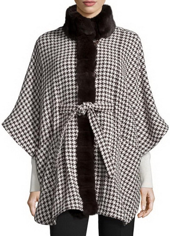 Angel&Lily Faux Fur Collar Selftie Belt Coat Cape plus1x10x