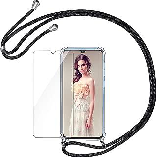 AROYI Handykette Handyhülle + Panzerglas Schutzfolie für Samsung Galaxy A40 Hülle mit Kordel zum Umhängen Necklace Hülle mit Band Schutzhülle Transparent Silikon Acryl Case für Samsung Galaxy A40