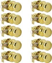 Entree Locker Rond Exterieur Beveiliging Deurslot Met Sleutel Gepolijst Messing Deurklink Knop Veilige Lockset, 10 Pack Keyed