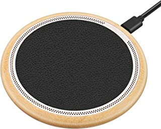 Te-Rich Bamboo Standard Qi Wireless Charger for iPhone X iPhone 8/8 Plus Galaxy S9/S9 Plus, 10W Fast Charge Wireless Charging Pad for Galaxy Note 8/5 S8/S8 Plus S7/S7 Edge S6 Edge Plus-NO AC Adapter