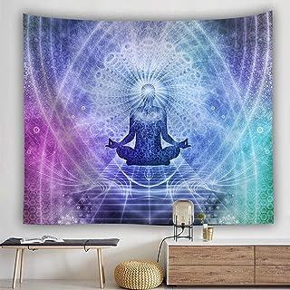 WSHINE Chakra Tapestry, Mandala Zen Meditation Hippie Decorations Wall Hanging for Bedroom Living Room, Purple Blue Green
