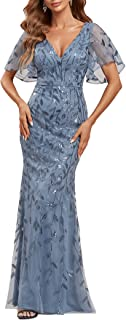 Ever-Pretty Women's V-Neck Sparkly Embroidery Mermaid Evening Party Dress 0692