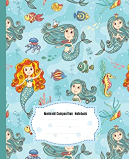 Cute Mermaid Composition Notebook: Wide Ruled Paper Notebook Journal