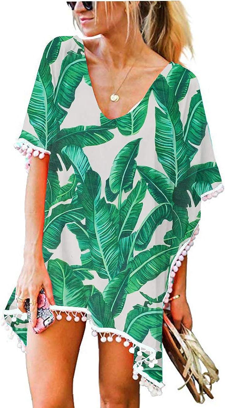 CPOKRTWSO Women's Crochet Chiffon Tassel Swimsuit Beach Bikini Cover Ups for Swimwear