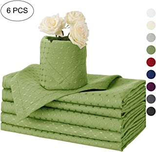 Eforcurtain Set of 6 Pieces Solid Waffle Polyester Napkins Soft Fabric Washable and Reusable Dinner Napkin for Home Use, Fresh Green Color Cloth Napkins 17x17 Inch