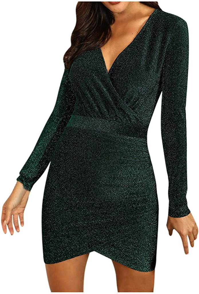 Sexy Wrap Sequin Dresses for Women V Neck Sparkly Gilitter Long Sleeve Bodycon Club Mini Dress