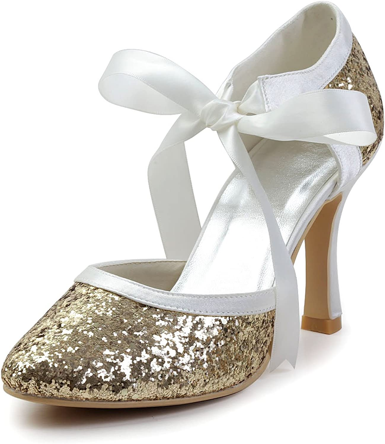 Minitoo GYAYL450 Womens Stiletto High Glitter Satin Evening Party Bridal Wedding Pumps shoes