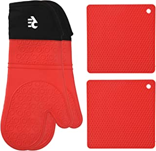 Rodri Essentials Extra Long Professional Silicon Kitchen Oven Mitts with Quilted Liner. (RED)