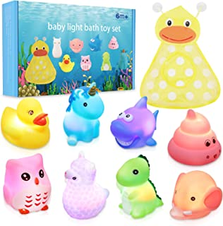 Lictin Juguetes de Baño para Bebé Niños-8 PCS Juguetes de Baño Luminosos Juguetes de Natación del Flotante con Bolsillo de...