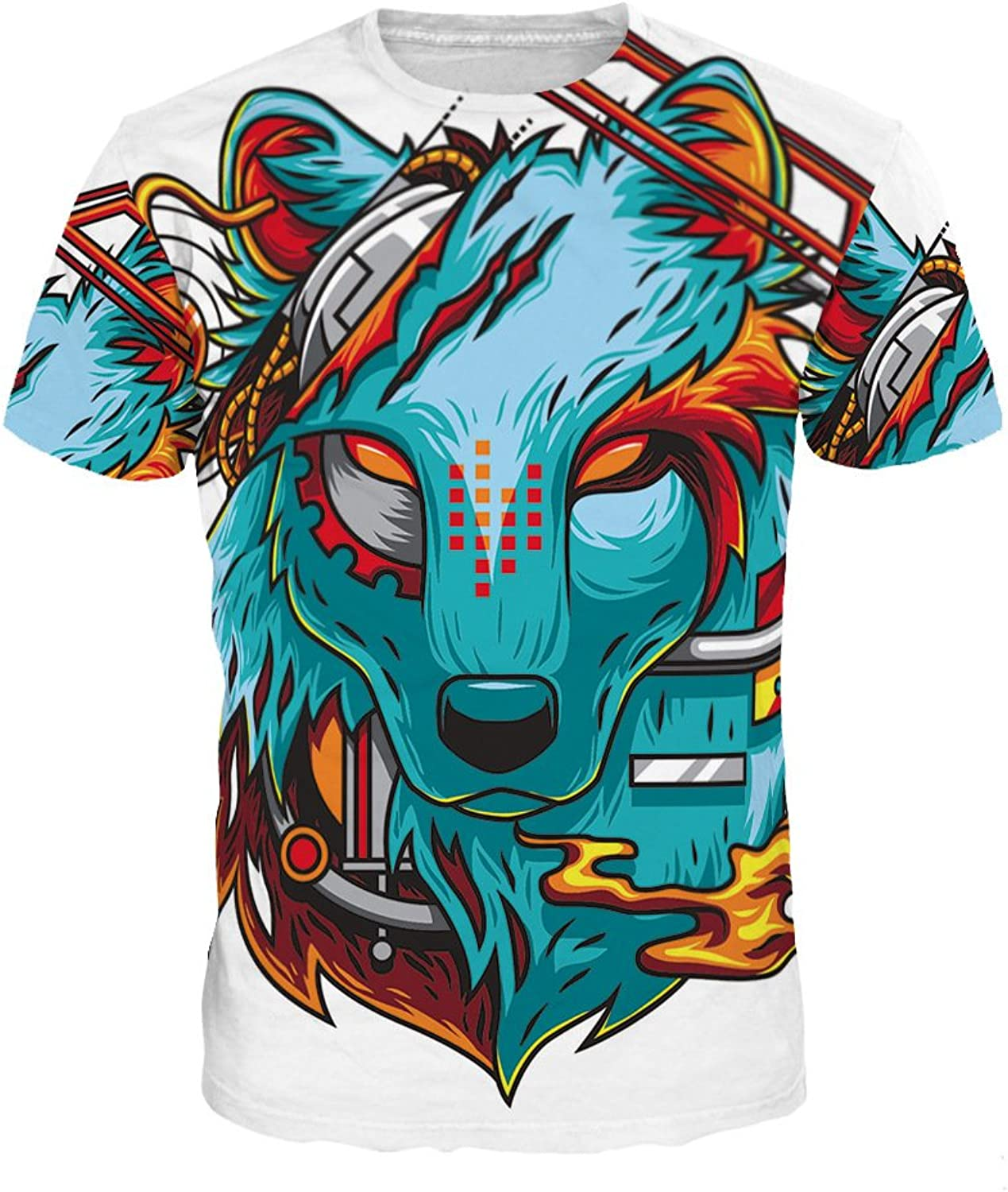 Short Sleeve TShirt with Painted Wolf Totem 3D Digital Printing Fashion Clothing Comfortable & Durable for Couple