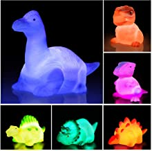 Dinosaur Bath Toys Light Up Floating Rubber Toys(6 Packs),Flashing Color Changing Light in Water,Baby Infants Kids Toddler...