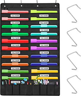 Sinzip Heavy Duty 20 Pocket Door Hanging File Organizer with Name Tag Holders, Black Wall Storage Pocket Charts with 4 Hangers, Great for Classroom, School, Home or Office Use (20 Nametag Pocket)
