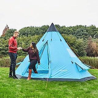 BINBAOSS Familjecampingtält för vuxna 5–6 personer familj campingtält, två dörrar med dubbla lager party tipi-tält, 30 x 3...