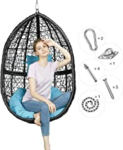 Greenstell Rattan Wicker Egg Hammock Chair with Hanging Kits,Weather Fastness Hanging Chair with Comfortable Blue Cushion and Pillow,Basket Swing Chair for Indoor,Outdoor Bedroom,Patio,Garden (Black)