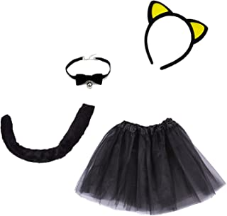 4-Piece Halloween Black Cat Costume for Girls Kitty Costumes Accessories for Kids Headband, Tail, Bow Tie Necklace, Tutu