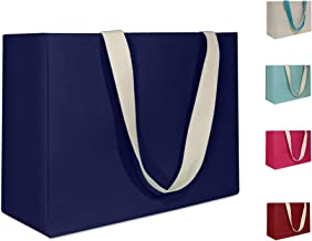 Large, Reusable Grocery Bag, Eco Friendly Cotton Canvas Shopping Tote. Water Resistant Interior Liner. Collapsible, Foldable design. Blue, Red, Beige, Pink, Teal (Blue)