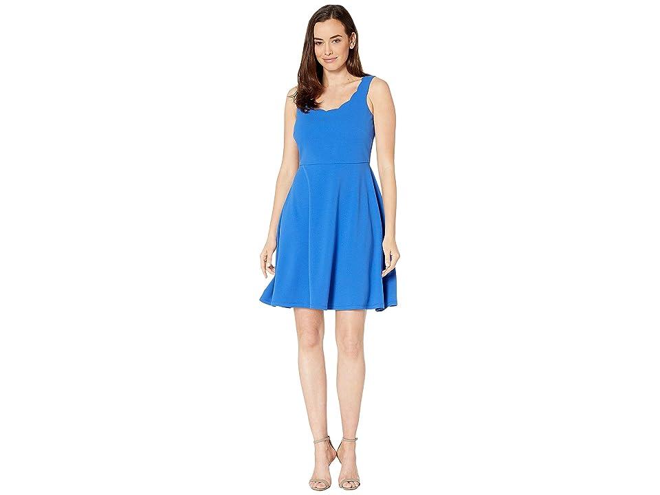 Nine West Drapey Crepe Sleeveless Fit Flare Dress w/ Scallop Neckline (Royal) Women