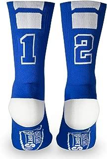 Custom Team Number Crew Socks | Athletic Socks by ChalkTalkSPORTS | Blue | Choose Your Number