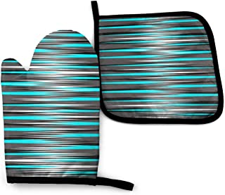 Oven Mitts and Pot Holders,Teal, Grey, White, Black Stripes Heat Resistant Reusable Kitchen Oven Mitts and Pot Holders for...