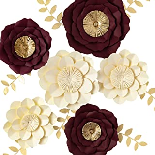 KEY SPRING 3D Paper Flower Decorations, Giant Paper Flowers, Large Handcrafted Paper Flowers (Ivory, Burgundy Set of 6) for Wedding Backdrop, Bridal Shower, Wedding Centerpieces, Nursery Wall Decor
