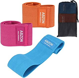 ABZON Resistance Bands Set for Hip and Legs, Workout Loop Bands for Booty with 3 Resistance Levels, Non-Slip Exercise Band...
