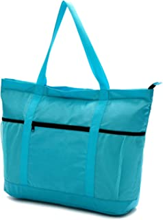 Large Beach Bag with Zipper - XL Foldable Tote Bag for Travel and Shopping - Large Tote Bag with Many Pockets (Turquoise)