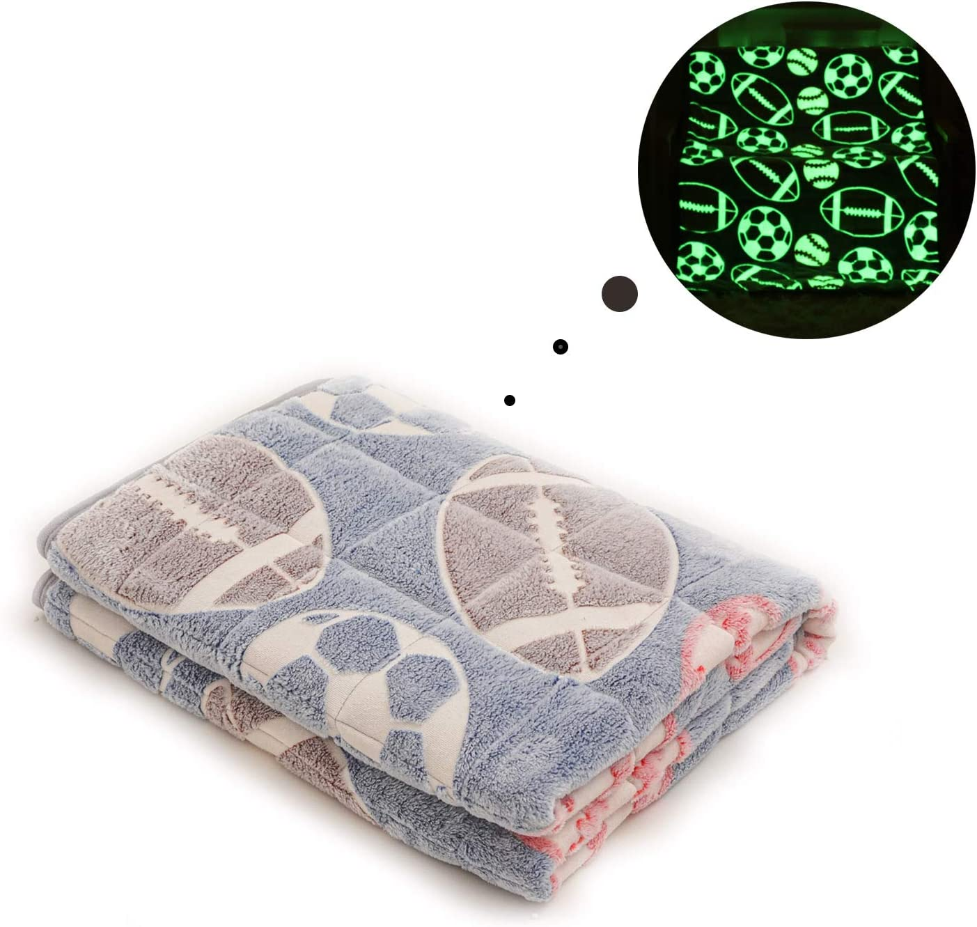 Grey VECOKNA Weighted Blanket 7lbs Football Pattern Glow in The Dark Throw Blanket for Kids Teens Soft Minky Bottom /& Cool Cotton Top Reversible Weighted Blanket Twin//Full Size 41x60