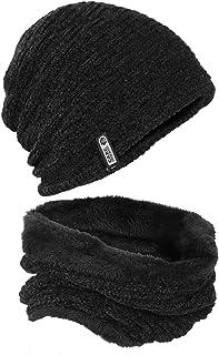 mysuntown 2Pcs Winter Beanie Hat Scarf Set Warm Thick Knit Hats Skull Caps for Men Women