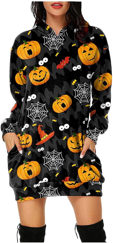 UOCUFY Sweatshirt for Women, Womens Dress with Pockets Hooded Sweatshirt Lightweight Long Sleeve Casual Pullover Hoodie