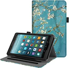 Fintie Case for Amazon Fire 7 Tablet (Previous Generation - 7th, 2017 Release) - [Multi-Angle] Viewing Folio Stand Cover with Pocket Auto Wake/Sleep, Blossom