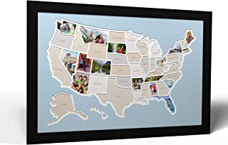 Thunder Bunny Labs 50 States USA Photo Map - Frame Optional - Made in America (Caribbean, Black Frame)